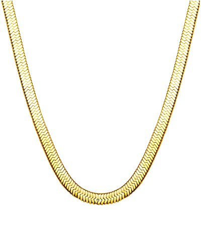 "Jstyle Stainless Steel Necklace for Men Women Nickel-Free Herringbone Chain 22"" Golden Tone"