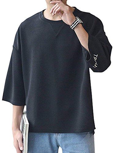 [スノーラル] SONWRAL カットソー Tシャツ 大きいサイズ ビッグサイズ ドロップショルダー ロゴ入り 7分袖 3カラー ブラック ホワイト ネイビー