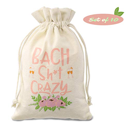Hangovers Recovery Kit Bags (5 * 8inches), Bachelorette Party Supplies, Bach Crazy Sign Boho Floral Design Cotton Drawstring bags, Wedding Party Welcome Decoration, Set of 10 -