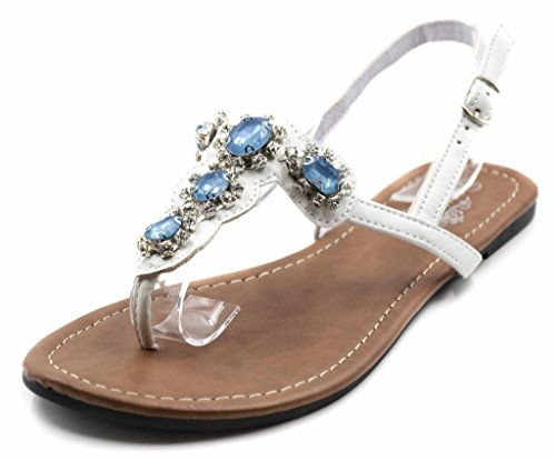 Charles Albert Women's T-Strap Adjustable Buckle Sandal with Embedded Rhinestones in White Size: 6 Leather Jeweled Sandals