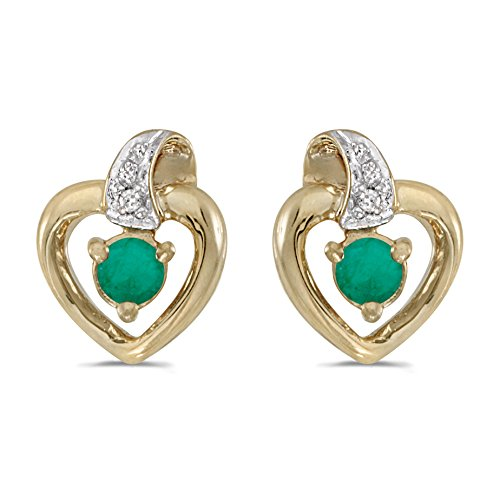 10k-Yellow-Gold-Round-Emerald-And-Diamond-Heart-Earrings