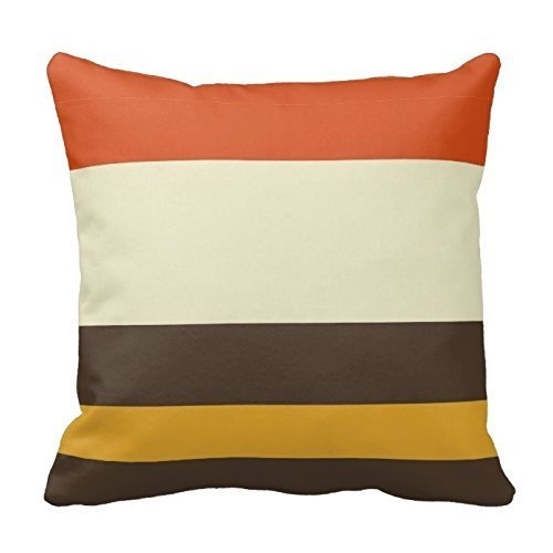 - Shower Curtain Orange Yellow and Brown Stripes Pattern Design Throw Pillow Cover Case Home Decorative Square 18