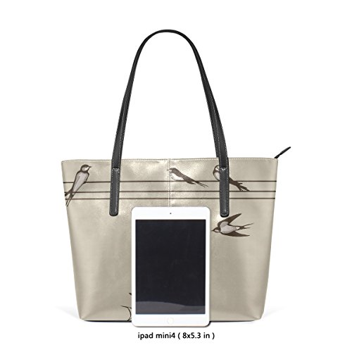 Wire Tote Purse Bag Womens Shoulder PU On Swallows Leather LIANCHENYI qIxAn8wEU1