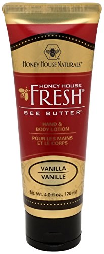 Honey House Naturals Bee Butter Tube Lotion Cream, Vanilla, 4 Ounce ()