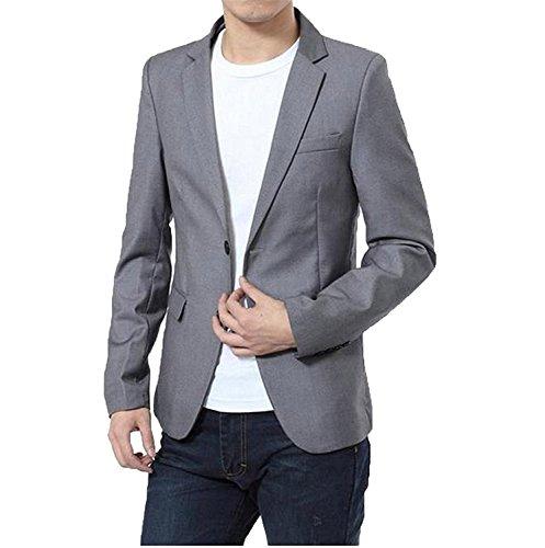 ZOPYDG Mens Pure Color Slim Premium One Button Causal Coats GrayChina XL=US S Vogue