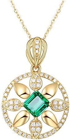 QKL Collar De Tesoro Colorido Chapado En Oro De Moda Clásico Femenino, Piedra Preciosa Esmeralda Redonda Rueda De La Suerte Colgante Cadena De Clavícula