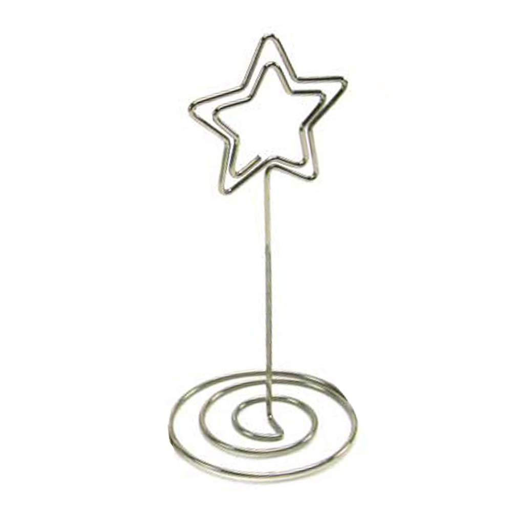 BERON Set of 50 3.5'' Star Shape Card Holder with Sprial Base for Tabletop Use