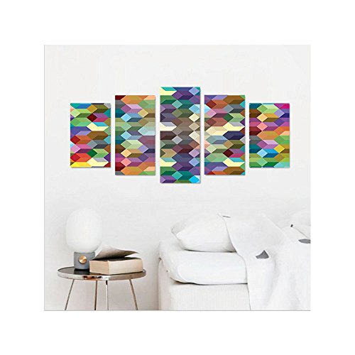 Liguo88 Custom canvas Abstract Home Decor Collection Color Cubes Mosaic Party Festive Theme Modern Fun Geometric Artwork Bedroom Living Room Wall Hanging Olive Blue Purple Teal