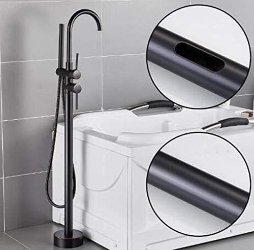 バスタブミキサータップ自立タブフィラーバスタブ蛇口フロアは、ハンドヘルドシャワー、バスシャワーシステムとの蛇口をマウント