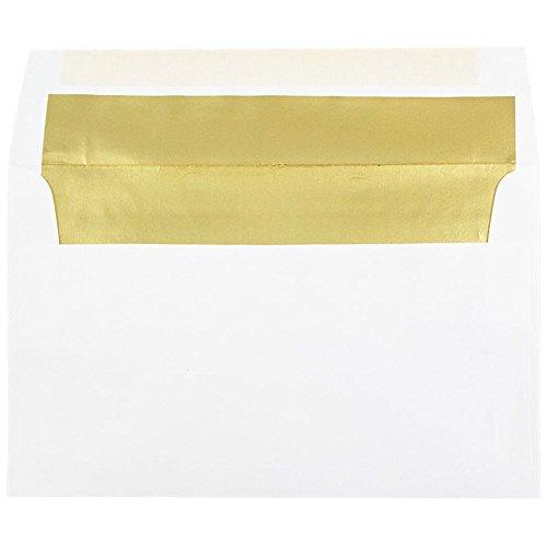 JAM PAPER A10 Foil Lined Invitation Envelopes - 6 x 9 1/2 - White with Gold Foil - ()