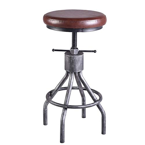 VINTAGELIVING Vintage Bar Stool Swivel PU Leather Seat Kitchen Island Workbench Chair Height Adjustable 23-31 inch ()