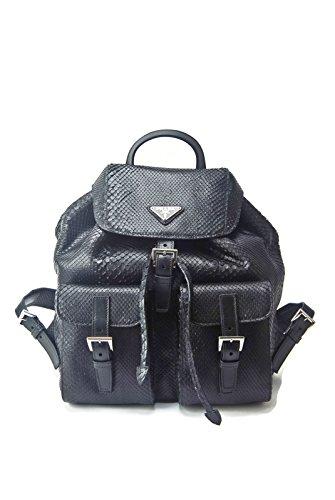 Prada Pocket Tote (Prada Impossible To Find Black Genuine Python Snake Skin Backpack Purse Bag - Current Season Sold Out)