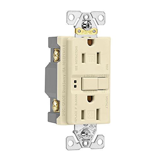 Eaton GFCI Self-Test 15A -125V Tamper Resistant Duplex Receptacle with Standard Size Wallplate, Almond by Eaton (Image #2)