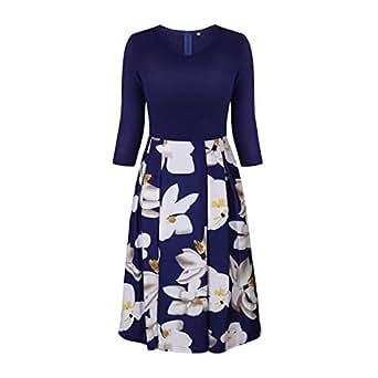 Dress V-Neck Solid Floral Print Patchwork Dresses With Pocket For Women