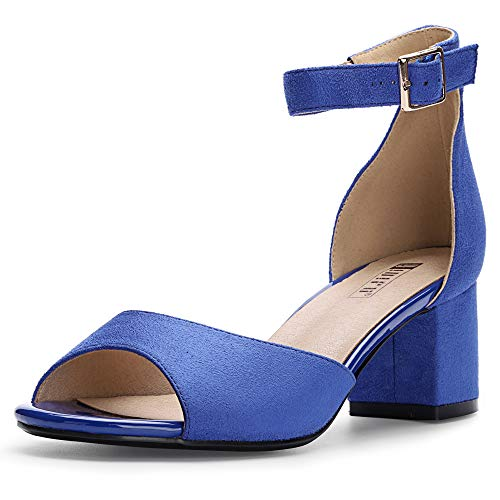 IDIFU Women's IN2 Candie Low Chunky Block Heel Pump Heeled Sandals Buckle Ankle Strap Peep Toe Dress Shoes (7 M US, Royal Blue Suede)