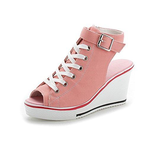 Primavera Boca de de 2018 de Verano Hueca de Rosado Sandalias Color Mujer Punta tamaño Pescado Zapatos Lona Zapatos Abierta Lona 36 de de Lona Damas y Zapatillas Sandalias Zapatos a0dYqq