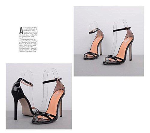 PBXP Partito di nozze Roma OL donne sandali aperta punta Stiletto tacco alto caviglia sottile casual Sandali UE taglia 35-40 , black , 37