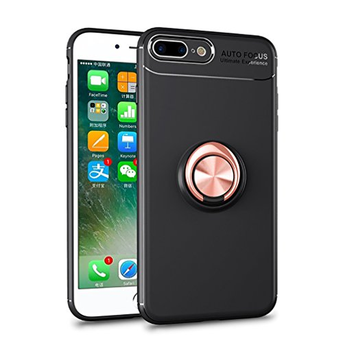 Price comparison product image ANERNAI iPhone 8 Plus 360Degree Rotating Ring Shockproof Compatible Magnetic Car Mount Cover for iPhone 8plus (Black-Rose Gold)