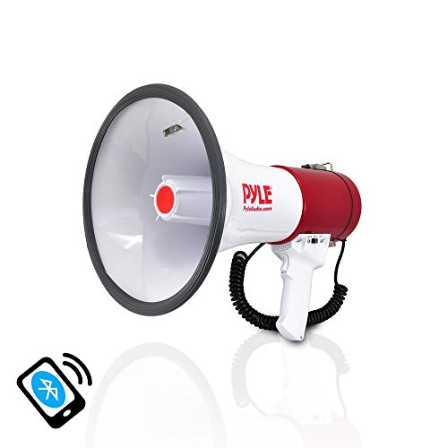 Pyle Bluetooth Megaphone. Pa Megaphone Bullhorn Speaker With Wireless Audio Streaming, Wired Microphone, Mp3/usb/sd/au
