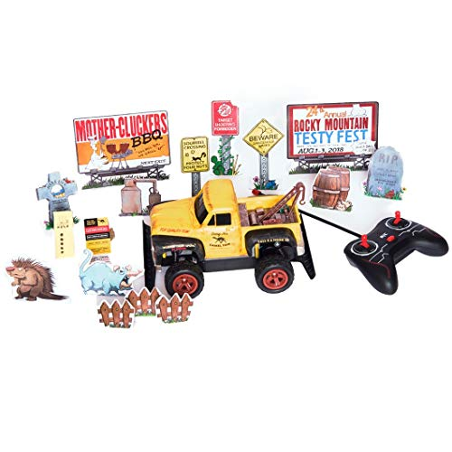 Redneck Roadkill Daisy Jo Camel Towing RC Radio Control Truck Game, Customize w/Stickers Truck ding Bumper Decals and Comes w/Billboard, Road Sign and Other Accessory Targets, Remote Control, Rated R