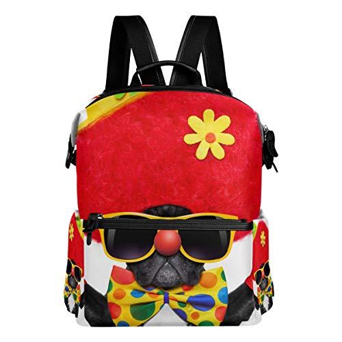 XINGAKA Silly Dog Wearing Clown Costume Peace Laptop Backpack Leather Strap School Bag Outdoor Travel Casual -