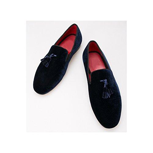 OCHENTA Calzado hombre terciopelo con flecos - zapatos de lona británicos Azul oscuro