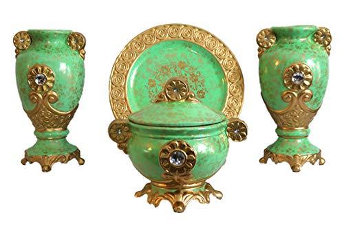 ZanZour Luxury Antiques 2 Ceramic Vases, 1 Bowl & 1 Decorative Plate (Set of 4 Pieces) for Home Decor Gold Pistachio