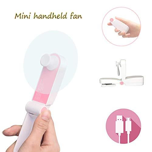 Solerconm Mini Portable Handheld Fan Rechargeable Personal Travel Fans Battery Operated Pocket Fan Lightweight Small Portable Fan USB Mini Hand Held Fan for Camping,Purse,Travel (Single Head-Pink)