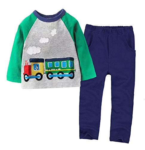 Coralup Toddler Long Sleeve Cotton 2PCS Clothing Sets(Green Train,4-5Y)