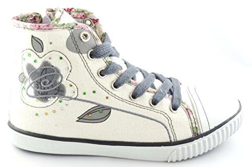 Camo Mädchen KNÖCHELSCHUHE Sneaker Skater GR.25-33 -778/779 Weiß