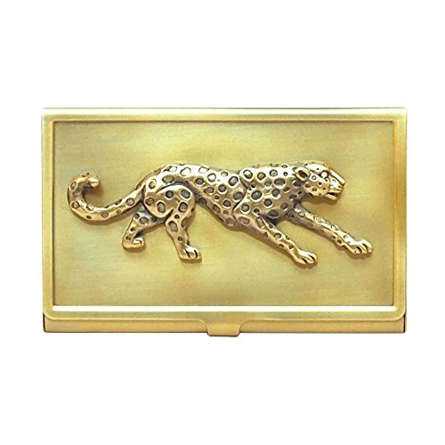 All For Giving Cheetah Business Card Carrying Case, Brass