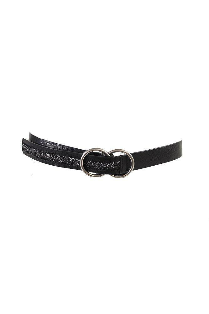 Inc International Concepts Black Woven Panel D-Ring Pull Back Belt S-M