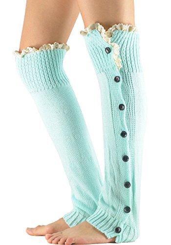 Zando Womens Girl Soft Fashion Lace Knee High Knitted Crochet Button Leg Warmers Turquoise