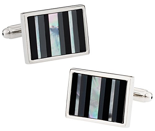 Hematite Set Cufflinks (Cuff-Daddy Onyx, Hematite, and Mother of Pearl Silver Cufflinks with Presentation Box)