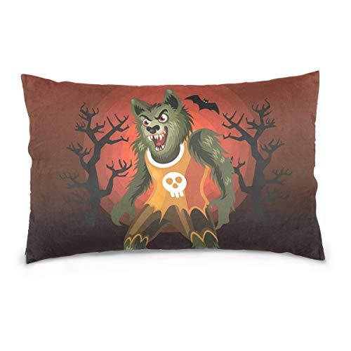 DOMIKING Halloween Werewolf Print 100% Cotton Velvet Pillowcase with Hidden Zipper for Skin and Hair Health, Queen Size (20