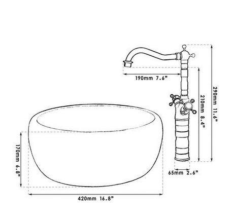 GOWE Double Handle Antique Brass Tap+Bathroom Sink Washbasin Ceramice Vessel Bath Sink Combine Set Torneira Tap Mixer Faucet 2