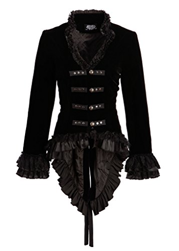 Womens Black Velvet Victorian Steampunk Tail Jacket with Back Lacing - Size US 6 ()