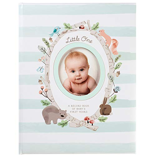 C.R. Gibson Woodland Animal Mint Green and White Striped Baby Memory Book, 48 Pages, 9.1'' x 11.5''