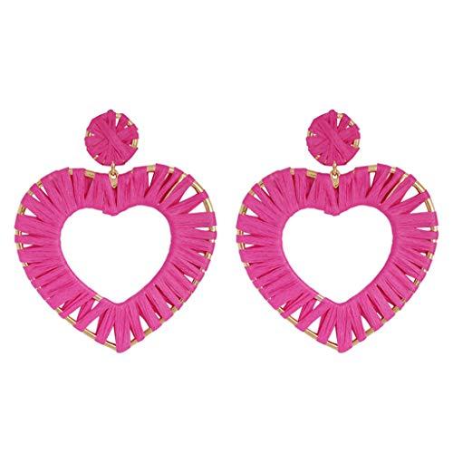 Woven Rattan Earrings Handmade Straw Rattan Earrings Heart Shape Geometric Handmade Colorful Rainbow Earring Gift For Mother Sister Summer Wear(hot pink)