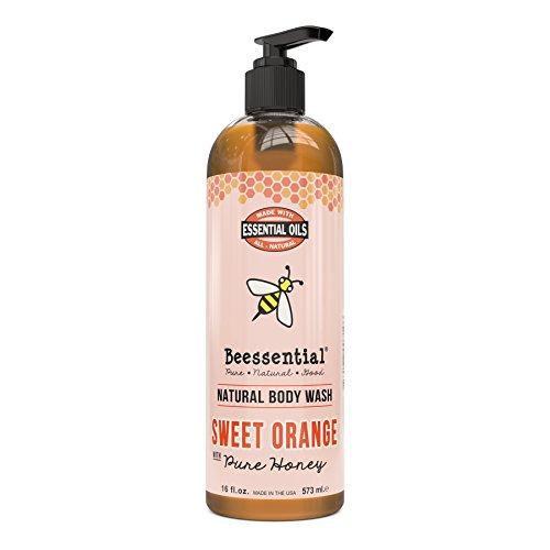 Beessential Natural Body Wash, Sweet Orange, Sulfate-Free Bath and Shower Gel with Essential Oils for Men & Women, 16 oz