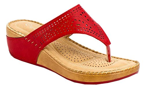 - Lady Godiva Allison Women's Comfort Wedge Slide Thong Sandals Red