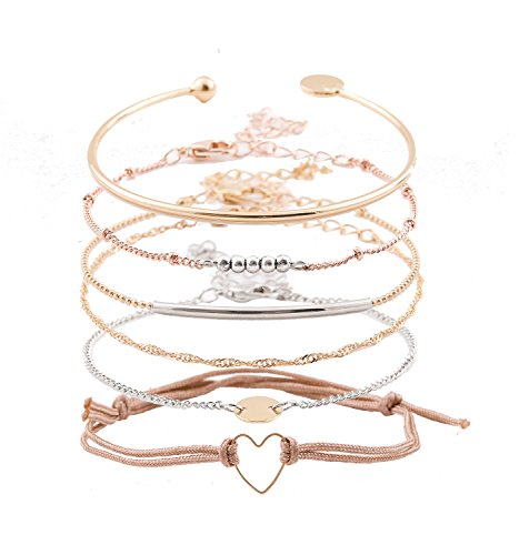 XOCARTIGE Charm Bracelets Set Bohemian Multiple Layered Beaded Bracelet for Girls Delicate Chain Bracelet Bangle Cuff (A Gold)