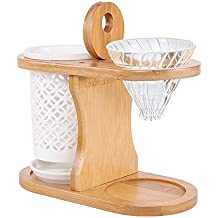 Superdream Wood Double Coffee Dripper Stand - Bamboo Wood Stand With Ceramics Drip Pot For Pour Over Coffee Maker