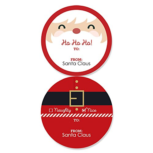 Jolly Santa Claus - Large Sticker Christmas Gift Tags - from Santa Stickers Gift Stickers - Set of 8