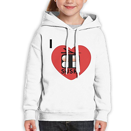 Price comparison product image Anraglan Love Sushi Girls Long Sleeve Pullover Hooded Sweatshirt White Size L
