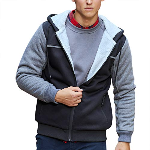 Men's Patchwork Sweatshirts, Beautyfine Fashion Long-Sleeved Round Neck Solid Color Hoodie Sweater Tops Blouse ()