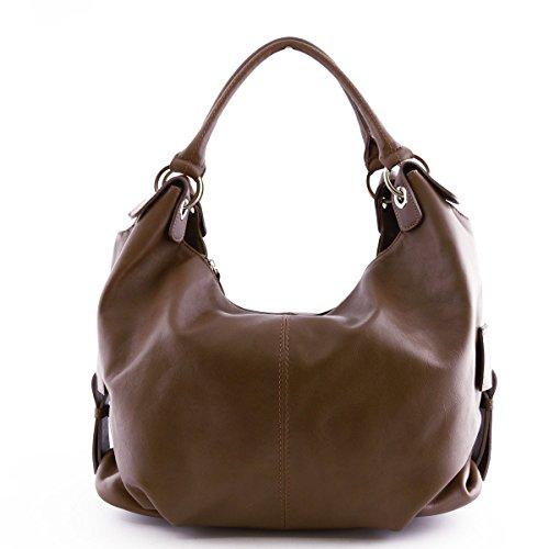 Echtes Leder Damen Schultertasche Farbe Dunkeltaupe - Italienische Lederwaren - Damentasche