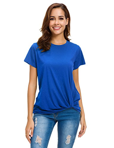 - MOQUEEN Womens Short Sleeve Loose Twist Knot Front T Shirts Cotton Casual Blouse