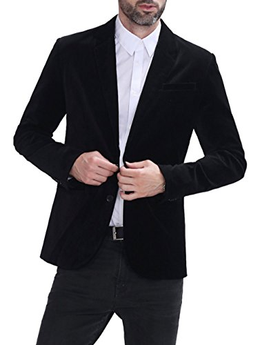 Vintage Black Velvet Blazer Jacket (Hoffen Men's Two Button Vintage Velvet Black Blazer Coat)