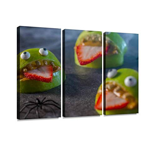 BELISIIS Healthy Halloween Apple Monsters Fruit Kids Treat Wall Artwork Exclusive Photography Vintage Abstract Paintings Print on Canvas Home Decor Wall Art 3 Panels Framed Ready to Hang]()
